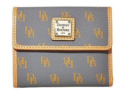Dooney & Bourke Blakely Small Flap Wallet (Slate/Butterscotch Trim) Handbags