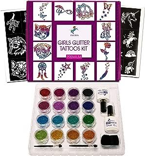 INGALA Premium Glitter Tattoo Kit for Girls   Unique Professional Glitter Tattoos for Kids and Adults   74 Amazing Glitter Tattoo Stencils   2 XL (0.5fl oz) Glitter Tattoo Glue