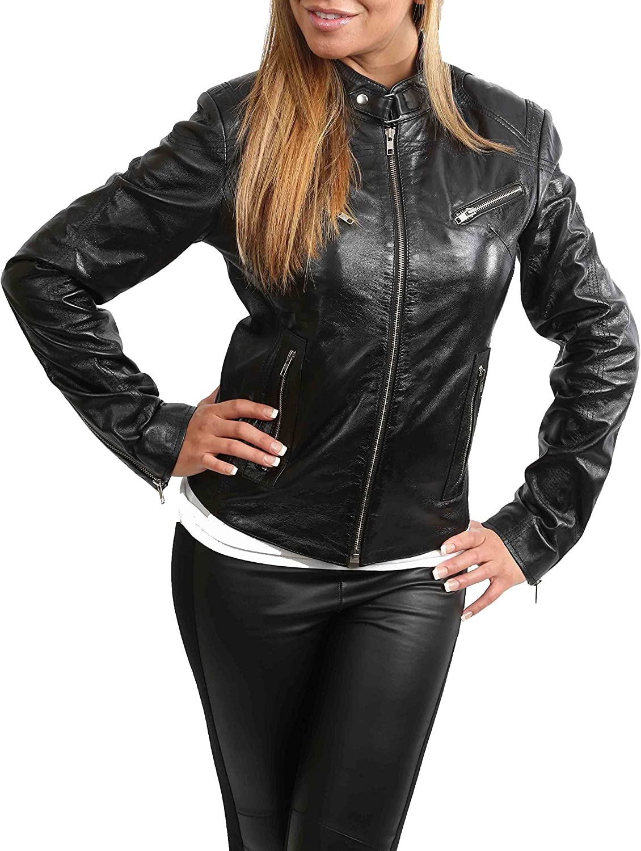 Ladies Genuine Leather Biker Style Slim fit Casual Jacket Khloe Black