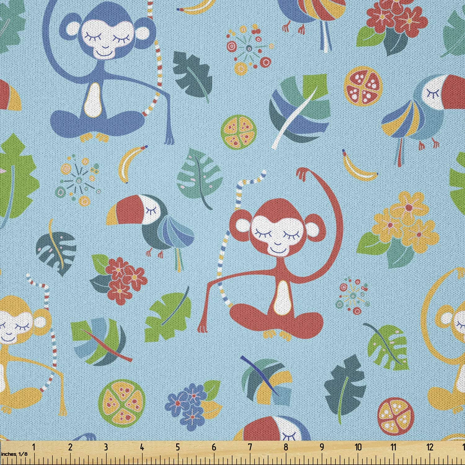 Max Mail order cheap 52% OFF Ambesonne Exotic Fabric by The Yard Monkeys Funny C and Toucans