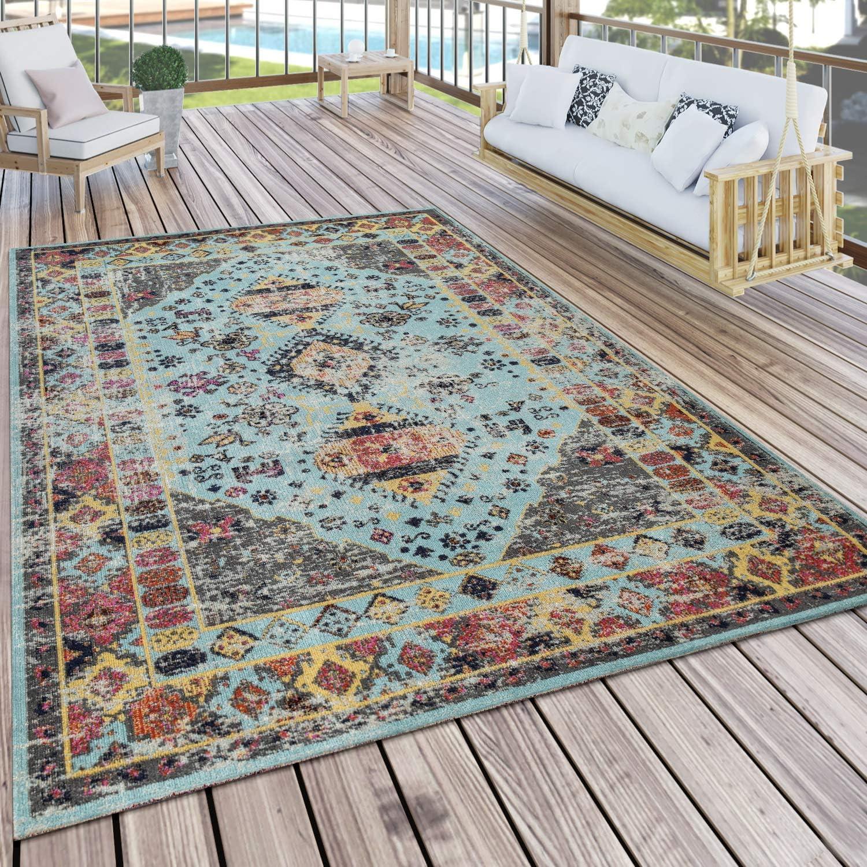 Amazon.de Paco Home Outdoor Teppich Türkis Blau Balkon Terrasse ...