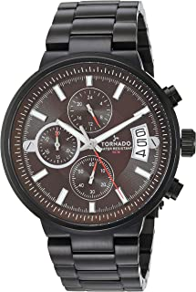 Tornado Men's Brown Dial Stainless Steel Band Watch - T8108-BBBD