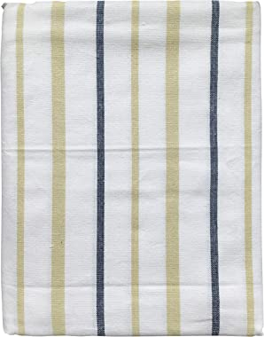 AJS Living Yarn Dyed Woven TC Stripe Table Cloth Cover Cotton Mercerised Fabric for Dining Table 6 Seater in White/Beige/Blue