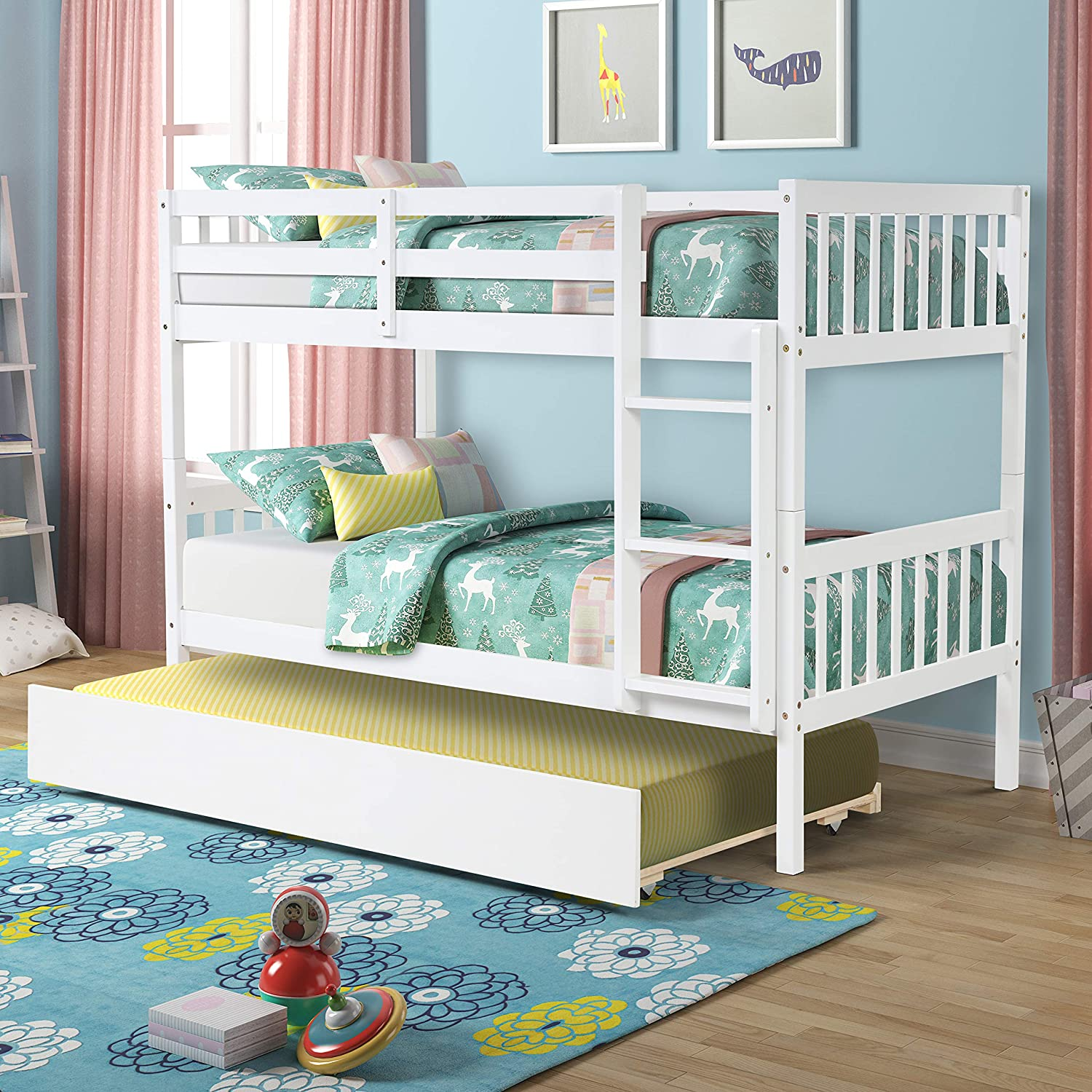Longrune security Detachable Bunk Bed Trundle Sturdy Pine Frame Id Baltimore Mall Wood