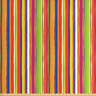 Ambesonne Stripes Fabric by The Yard, Hand Drawn Barcode Style Lines Rainbow Colored Abstract Geometric Illustration, Decorative Fabric for Upholstery and Home Accents, 3 Yards, Green Orange
