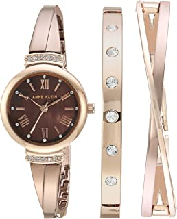 Anne Klein Womens AK/2245BRST Swarovski Crystal Accented Rose Gold-Tone and Light Brown