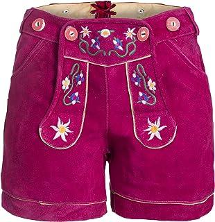 Bongossi-Trade Damen Trachten Lederhose m. Trägern Pink Größe 32-46