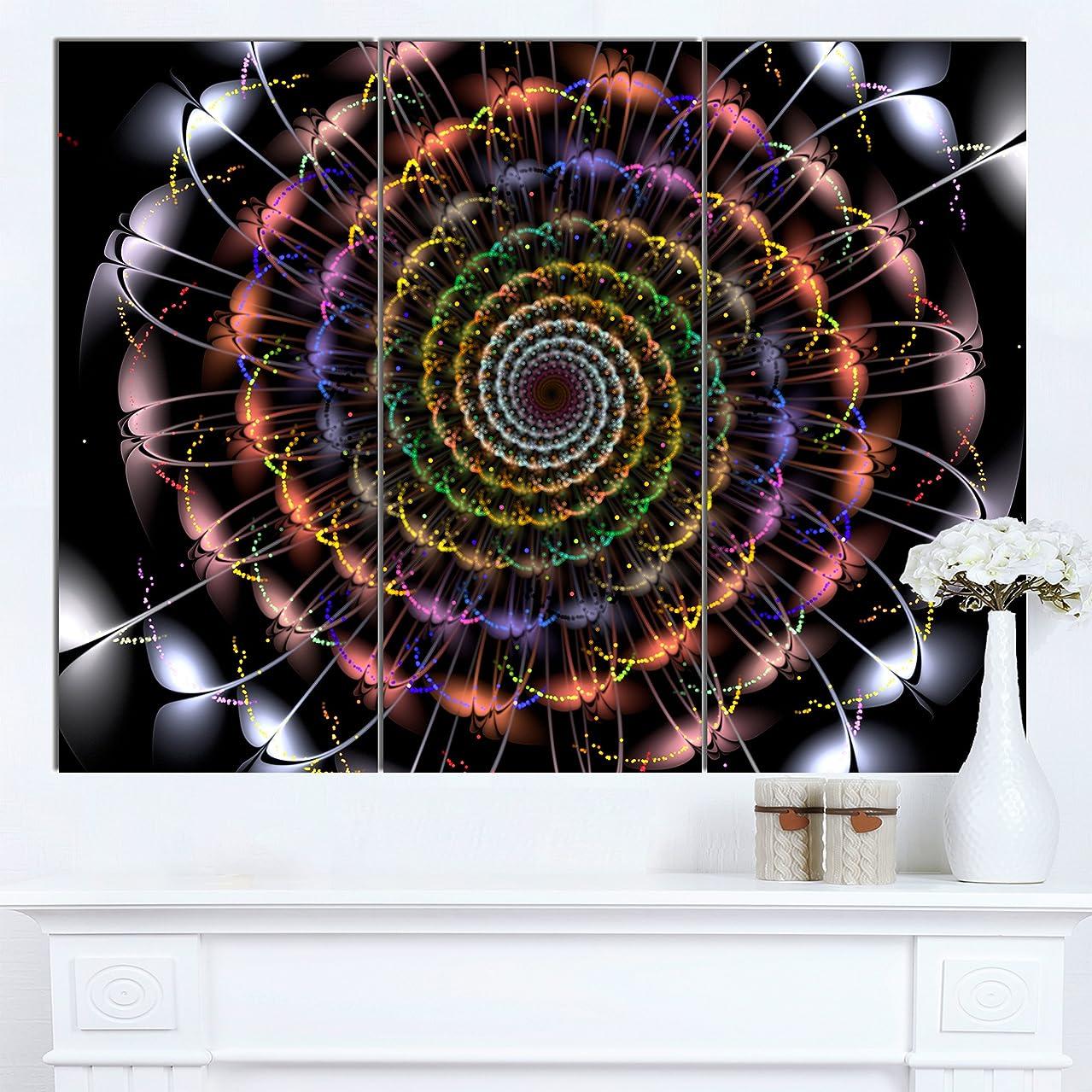 Designart Multicolor Spiral Flower Oversized Abstract Canvas Art 36x28-3 Panels