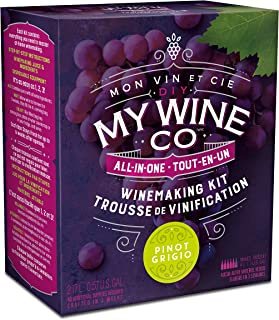 DIY My Wine Co., Premium All-In-One Wine Making Kit, Makes over 5 Bottles/4 Liters of Wine, Pinot Grigio, 2.17L