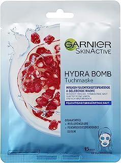 Garnier Hydra Bomb Tuchmaske, Gesichtsmaske mit Hyaluronsäure, Granatapfel und feuchtigkeitsspendendem Serum 5 Stück