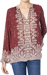 Lucky Brand womens PRINTED PEASANT TOP WITH CONTRAST BORDER PRINT Shirt