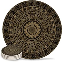 6 Piece Ceramic Drink Coasters Absorbent Stone Coaster Set,Bohemian Mandala Pattern Table Centerpieces Home Decor With Cork Backing,Suitable for Kinds of Cups and Mugs