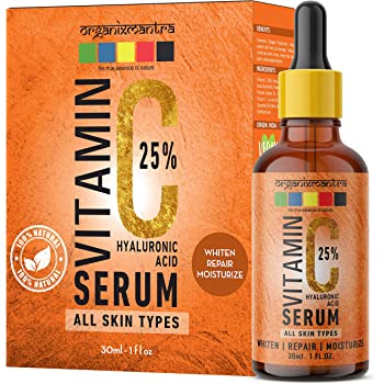 Organix Mantra Vitamin C Serum 25% for Face with Hyaluronic Acid, Ferulic Acid, Vitamin E, B3, Jojoba Oil, Aloe Vera and Grapefruit Extract, 30ml