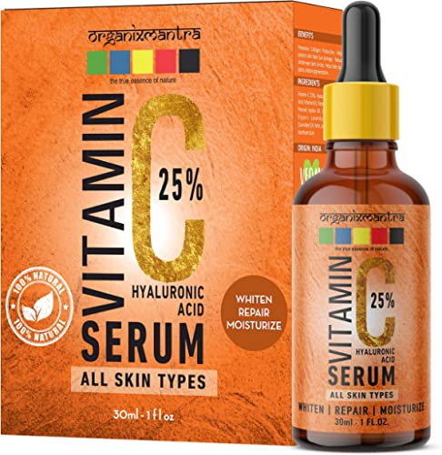 Organix Mantra Vitamin C 25% Serum for face with Hyaluronic Acid, Ferulic Acid, Vitamin E, B3, Jojoba Oil, Aloe Vera and Grapefruit Extract, 30ml product image