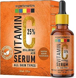Organix Mantra Vitamin C 25% Serum for face with Hyaluronic Acid, Ferulic Acid, Vitamin E, B3, Jojoba Oil, Aloe Vera and Grapefruit Extract, 30ml