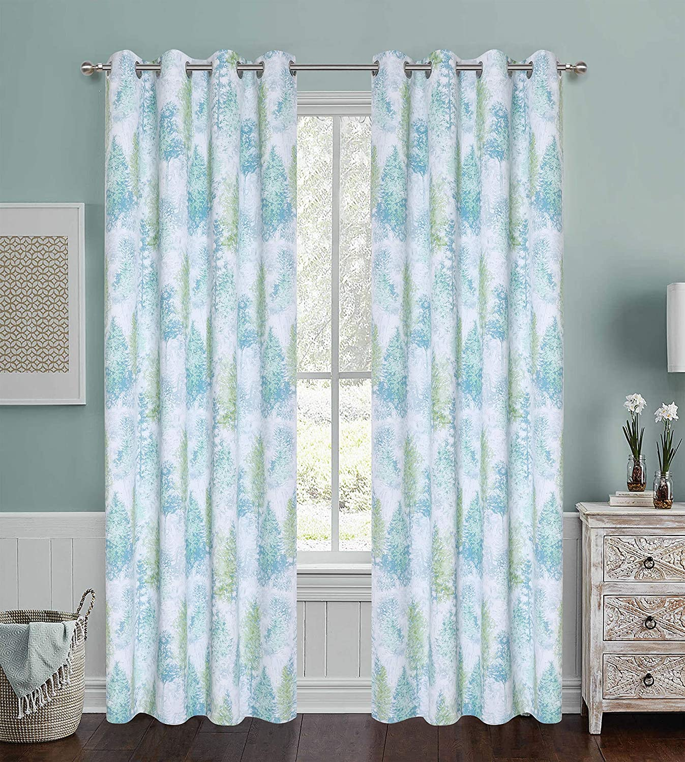 Home Fashion Print Forest Blackout Curtains for Nursery Kids Country Style Watercolor Trees and Leaves Window Panels Perfect for Living Room Grommet Set of 2 95 inch Length Green Grey Yellow