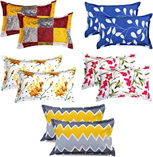 VAS COLLECTIONS® 105 TC 100% Cotton King Size Pillow Cover Combo-20X30 Inches,Set of 10 ( Yellow,Blue & Pink )