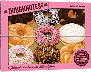 DoughNotes: 12 Notecards, Envelopes, and Address Labels (Donut Shaped Greeting Cards, Unique Novelty Stationery Gift)