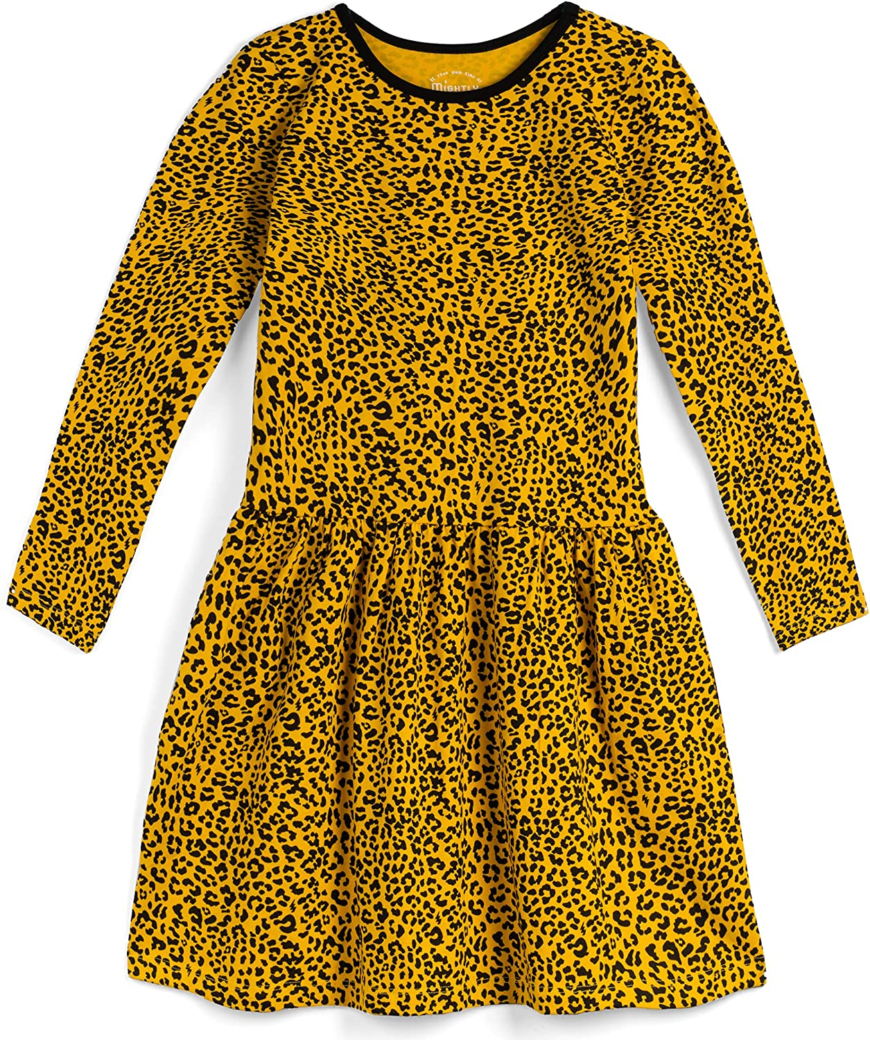 Mightly Girls' Long Sleeve Tiered Dress with Pockets- Organic Cotton Fair Trade Certified Toddler and Kids Clothes