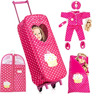 """Beverly Hills Doll Collection 8 Piece Doll Traveling Trolley Set fits 18"""" American Girl Doll Includes Pajamas, Sleeping Ba..."""