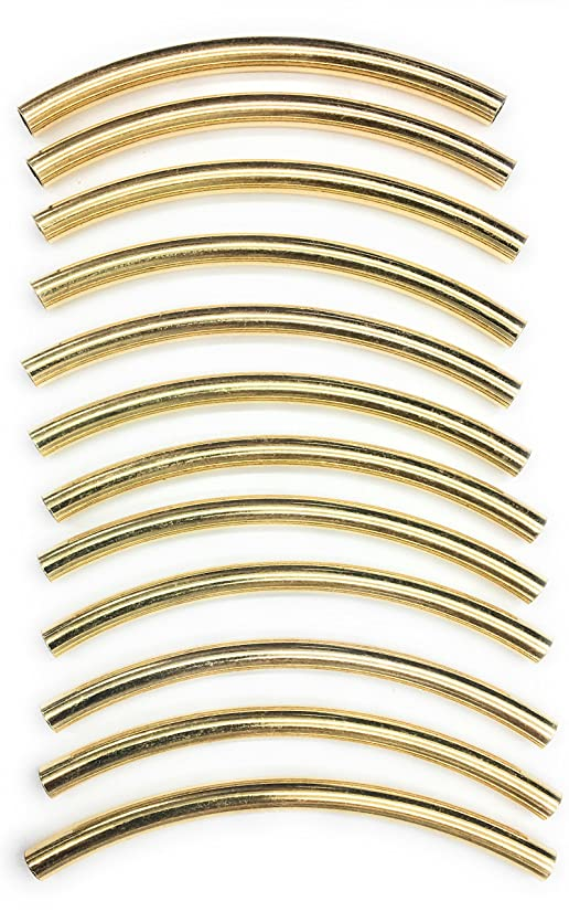 12 Gold Tube Spacer - Polished Gold Tubing,Jewelry rods, Handbag Making 1/4'' x 4''(6x90mm Gold)