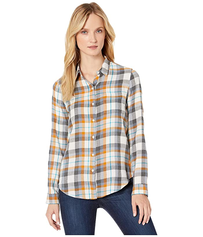Lucky Brand  Blue Classic One-Pocket Plaid Shirt (Charcoal Multi) Womens Clothing