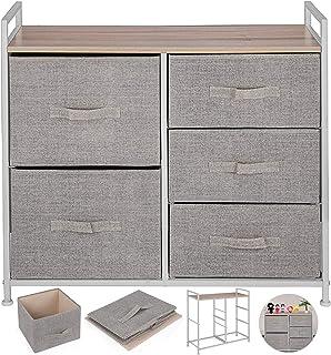 VEVOR Cómoda de Tela con 5 Cajones Práctico Cómoda Organizador con 5 Cajones/Cajas de Almacenamiento de Tela Cómoda Dorm...