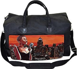 Lunarable African Gym Bag, Jazz Singer on New York, Large Weekender Carry-on