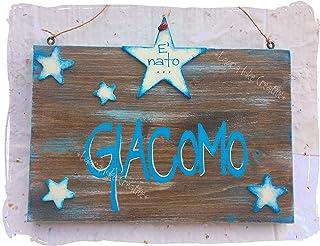 Originale fiocco nascita in legno - decorazione per cameretta - Idea regalo nascita personalizzata