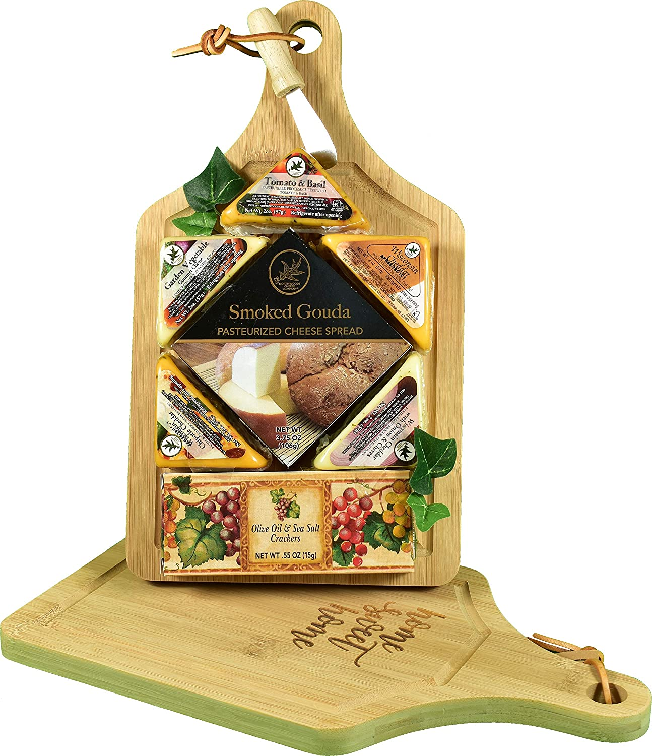 Gift Basket Village Sweet Home Sampler, Cheese and Crackers Cutting Board Gift with Deluxe Cutting Board, Cheese, Gourmet Crackers and Spreader, 3 Pounds