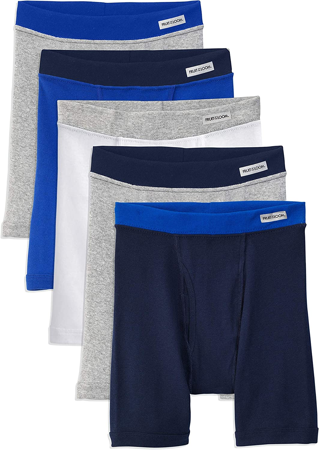 Fruit of the Loom Boys' 5 Pack Assorted Print Boxer Briefs