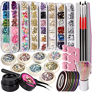 Nail Art Rhinestones kit, FANDAMEI Nail Art Decoration Kit with 8ml Rhinestone Glue Gel, Nail Rhinestones, Rivet, Pearl Ge...