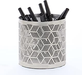 """Deco 79 57337 Geometrical-Pattern Cylindrical Pencil Can, 4"""" x 4"""", Gray"""