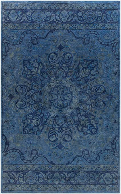 Amazon Com Surya Hand Tufted Casual Accent Rug 2 By 3 Feet Navy Teal Furniture Decor