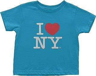 I Love NY New York Kids Short Sleeve Screen Print Heart T-Shirt Turquoise