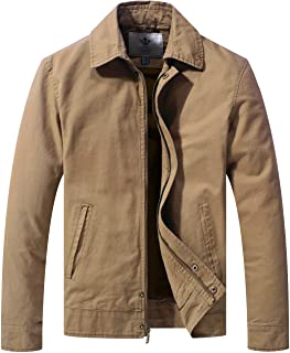 WenVen Men's Work Wear Casual Military Canvas Lapel Jacket (Regular & Big-Tall Sizes)