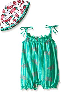 Baby Girls' Watermelon Romper with Matching Hat