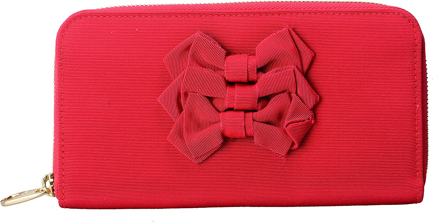 Red Valentino Women's Red Bow Decorated Clutch Wallet