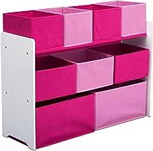 Delta Children Deluxe 9-Bin Toy Storage Organizer, White/Pink