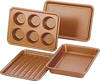 Ayesha Curry 47704 Nonstick Bakeware Toaster Oven Set with Nonstick Baking Pan, Cookie Sheet / Baking Sheet and Muffin Pan / Cupcake Pan - 4 Piece, Copper Brown (Renewed)