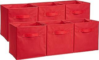 Amazonベーシック 収納ボックス 収納キューブケース 折りたたみ式 6点セット レッド