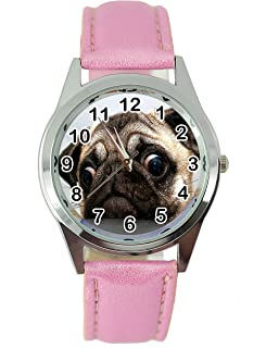 TAPORT Pug Dog Quartz Watch Leather Pink Band + Spare Battery + Gift Bag