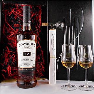 Geschenk Bowmore 12 Jahre Single Malt Whisky  Glaskugelportionierer  2 Whiskey Gläser