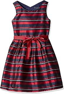 Nautica Girls' Stripe Taffeta Dress with Grosgrain Sash