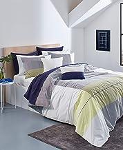 طقم لحاف وأغطية سرير مخططة من 3 قطع قابلة للعكس من Lacoste Backspin مصنوع من القطن بنسبة 100%، مقاس King، لون عاجي/أزرق/أصفر