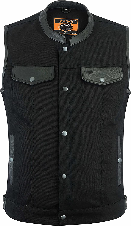 MARA LEATHER ML98612 Club Vest Men's Black Denim Vest W/Leather Trim & Hidden Zipper (S - 3XL)