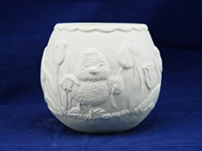 Handmade Ceramic Bisque Flower Pot Planter with Ducks, Tulips and Bunny Rabbit - Paint Your Own (Unglazed)