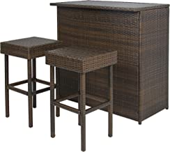 Best Choice Products 3-Piece All-Weather Outdoor Wicker Bar Table Set for Patio, Backyard, Garden w/ 2 Stools, Glass Tabletop, Shelf