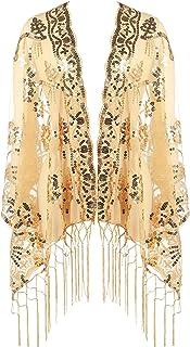 ArtiDeco Damen Umschlagtücher Stola für Abendkleid 1920s Retro Schal Hochzeit Party Braut Schal Gatsby Kostüm Accessoires