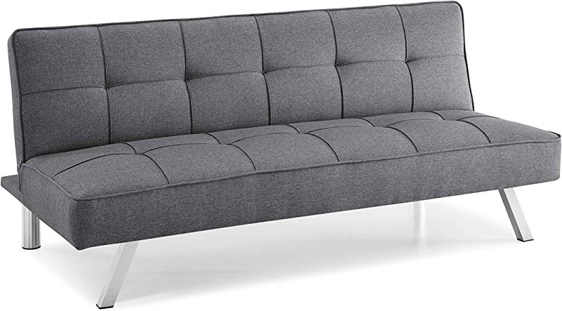 Pearington PEAR GRY 0435 Multifunctional Convertible Sofa Couch Lounger Bed Durable Metal Legs On Frame Grey Futon